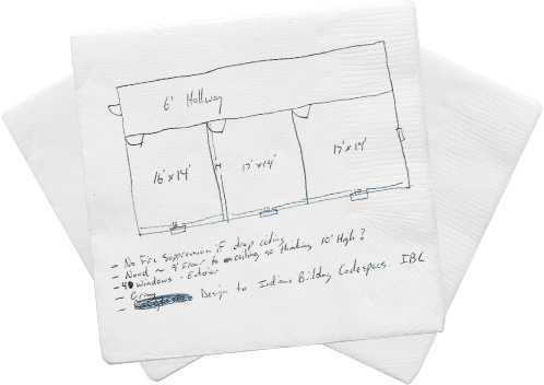 RFQ Drawing on Napkin